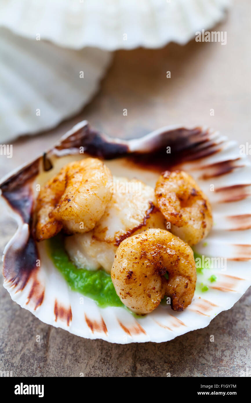 Pétoncles Crevettes,purée de pois avec Photo Stock