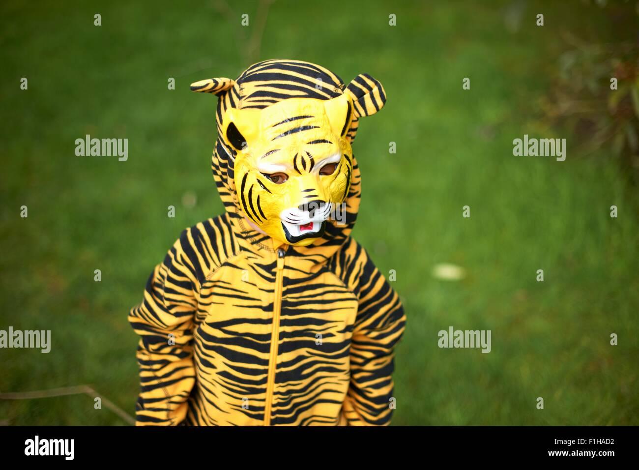 Jeune enfant habillé comme tiger Photo Stock
