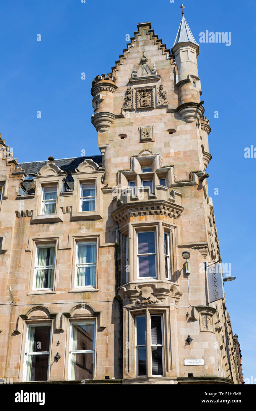 Merchant City Glasgow. Détail du bâtiment de la City Bank construit dans les années 1850, abrite maintenant Fraser Suites Serviced Apartments / Hôtel, Trongate, Écosse, Royaume-Uni Banque D'Images