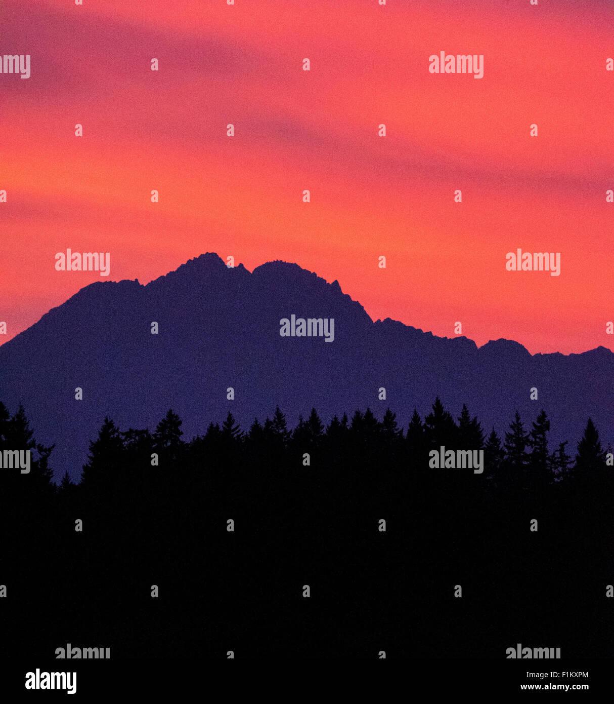 Magnifique coucher de soleil sur les montagnes olympiques, à l'Est de Puget Sound. État de Washington. Photo Stock