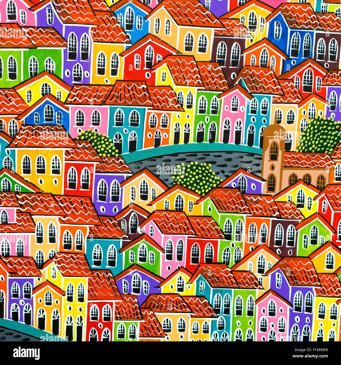 Peinture Coloree De La Vieilles Maisons Coloniales De Pelourinho Par Artiste De Rue A Salvador Bahia Bresil Photo Stock Alamy
