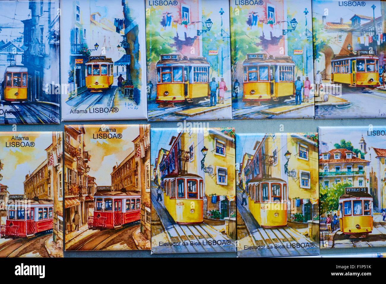 Portugal, Lisbonne, magasin de souvenirs, de l'aimant Photo Stock