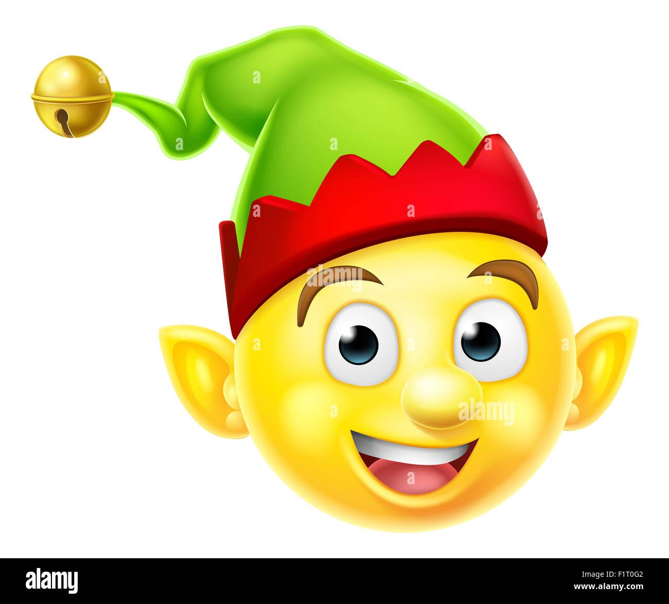 Un Mignon Petit Lutin De Noel Santas Emoji Icone Smiley Emoticon Helper Photo Stock Alamy