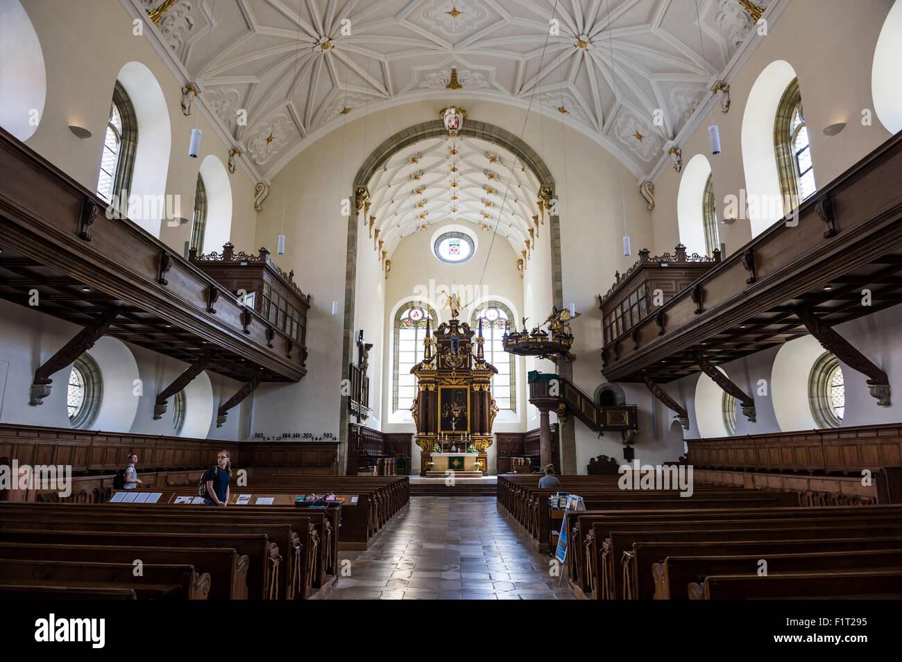 Intérieur de l'église de la Sainte Trinité, Regensburg, UNESCO World Heritage Site, Bavaria, Photo Stock
