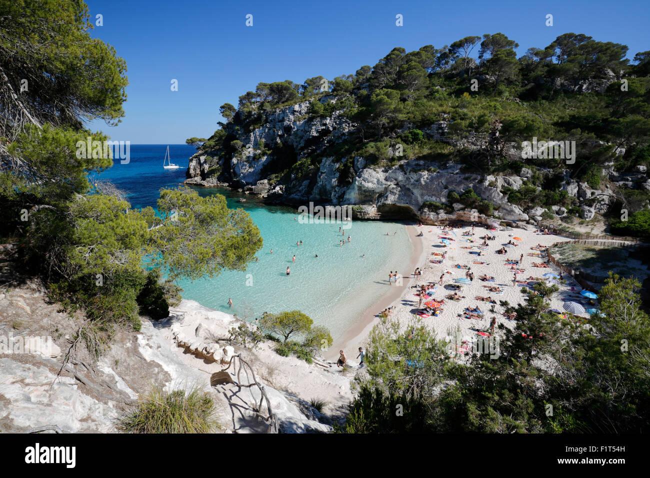 Cala Plage de Macarelleta, près de Cala Galdana, côte sud-ouest, Minorque, Iles Baléares, Espagne, Photo Stock