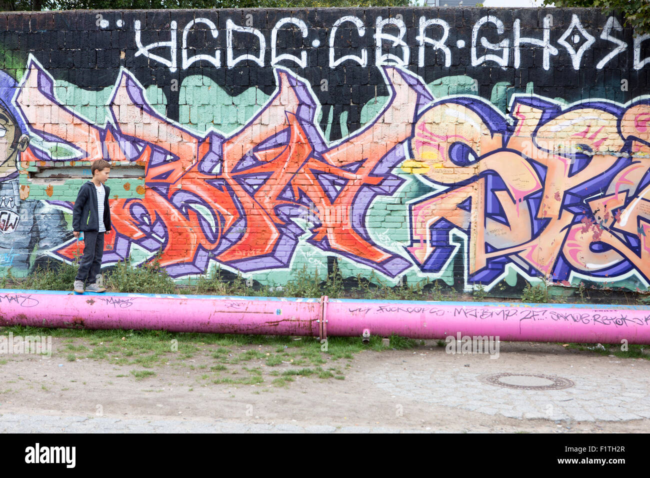 Berlin , Allemagne. East Side Gallery , Mur de Berlin. Photo Stock