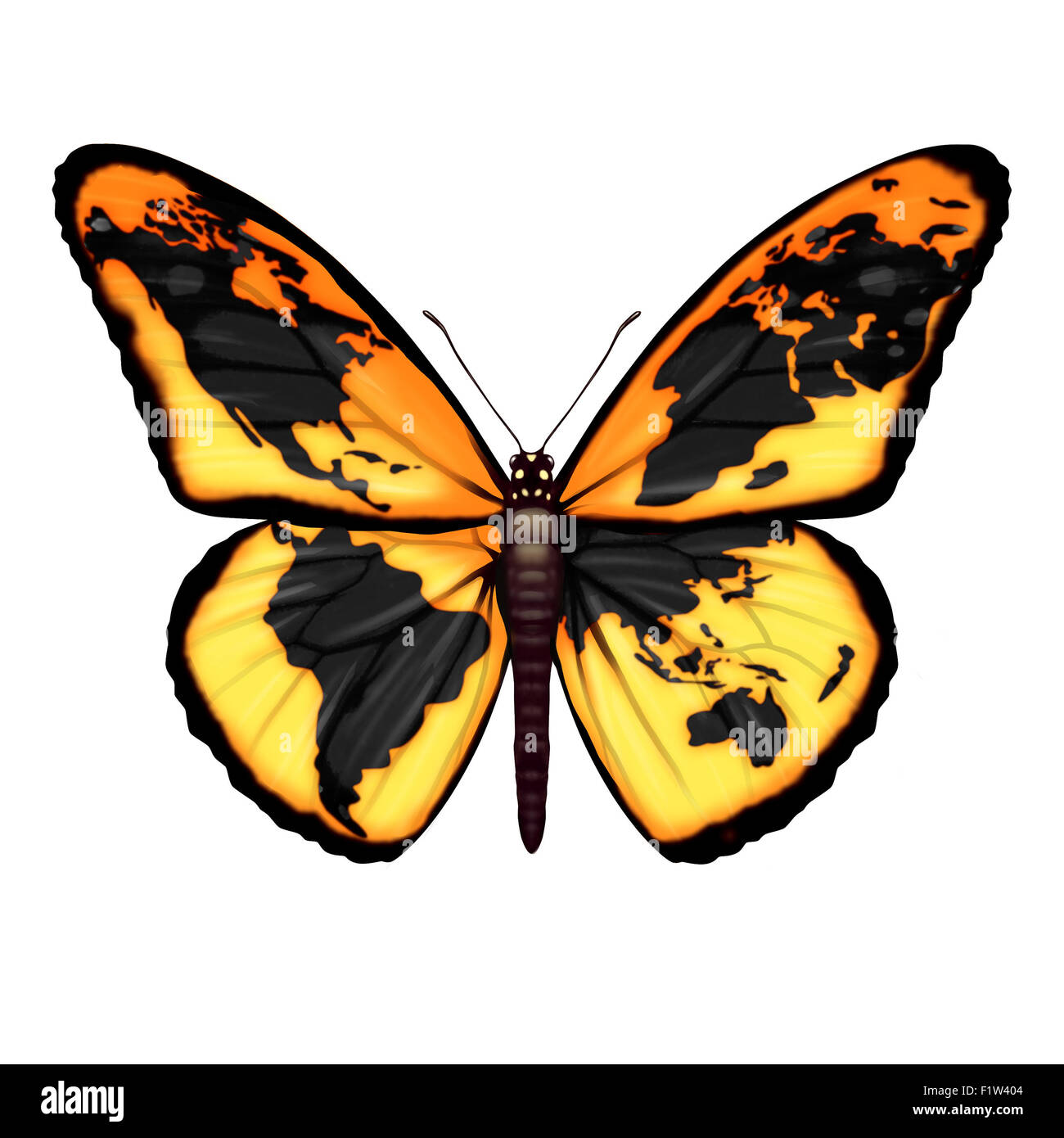 Papillon mondial pour l'environnement ou le symbole de la crise des réfugiés migrants échapper à la liberté du monde Banque D'Images