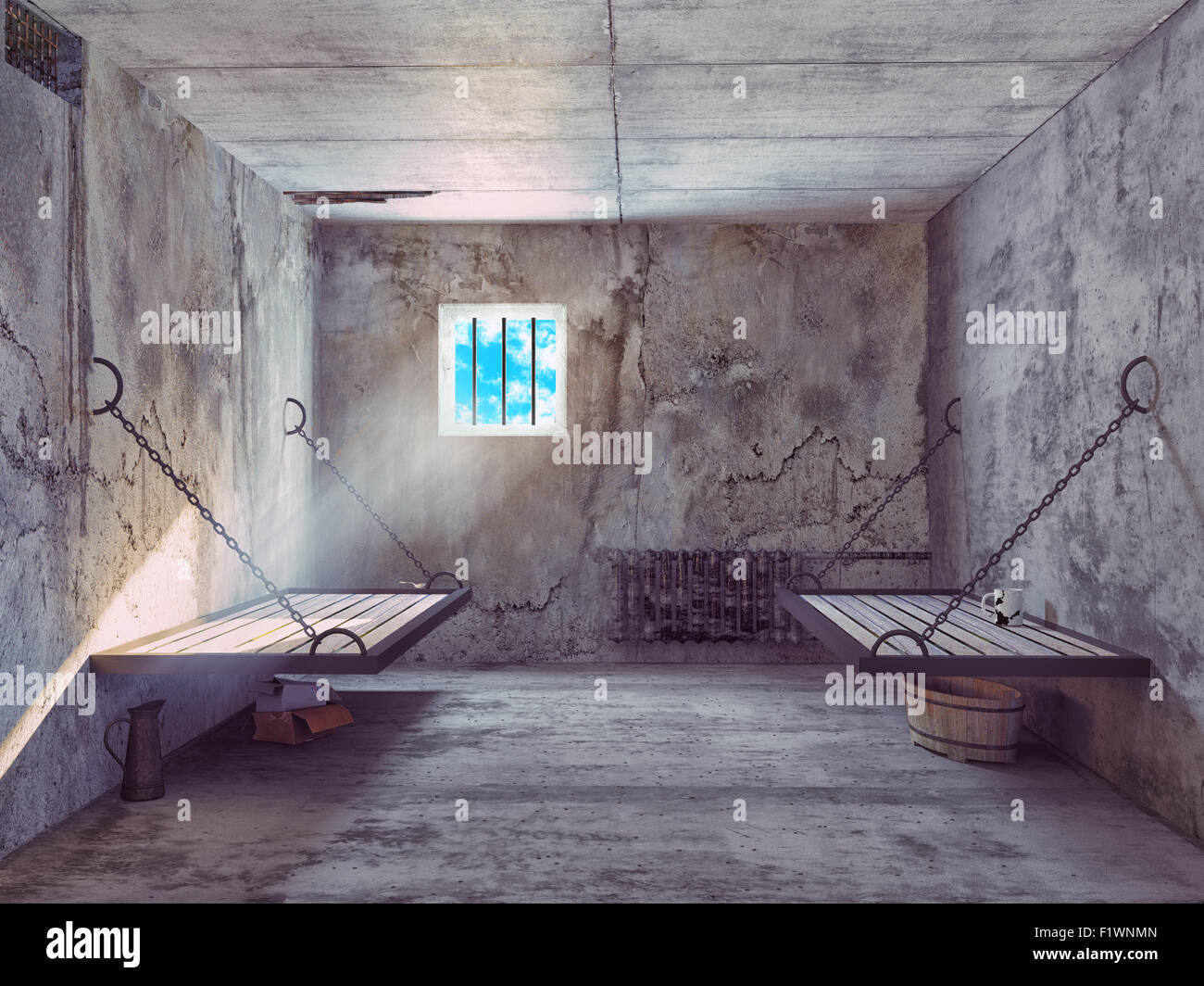Cellule de prison sale l'intérieur. Concept 3d Photo Stock