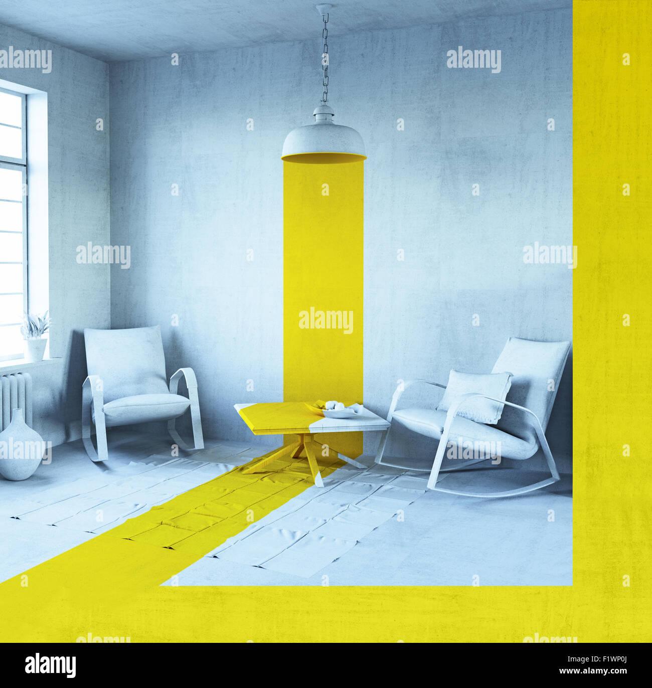 Concept Art - style intérieur. Le rendu 3D Banque D'Images