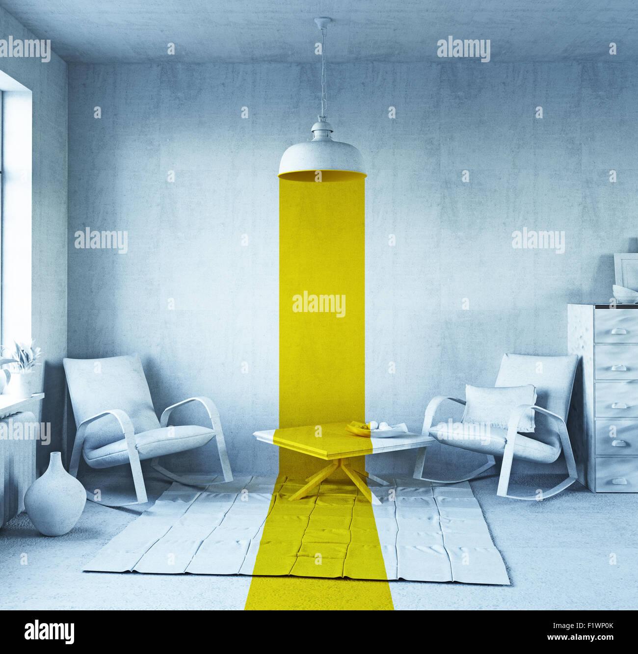 Concept Art - style intérieur. Le rendu 3D Photo Stock