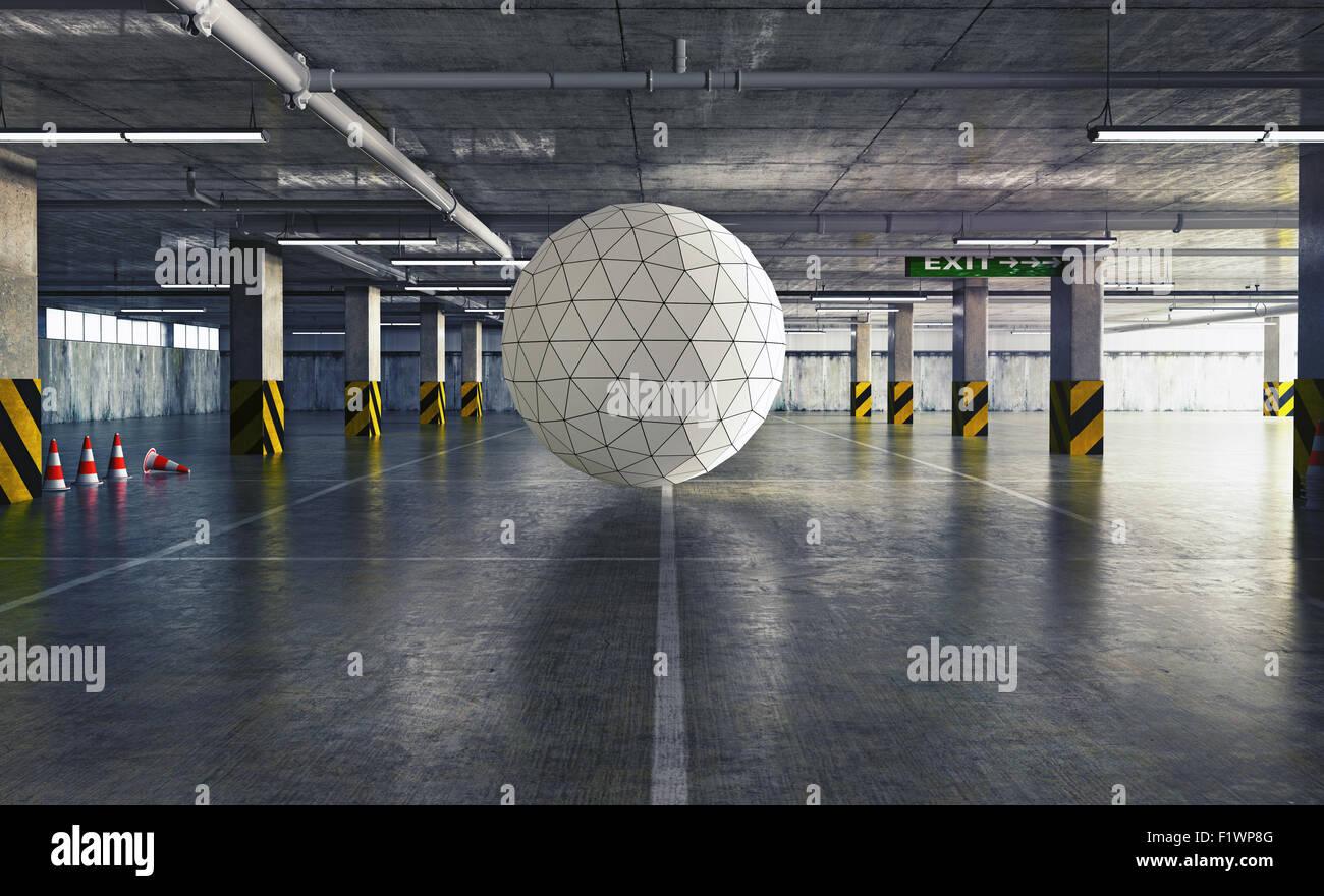 Sphère géométrique, dans le parking. Concept créatif 3d Photo Stock