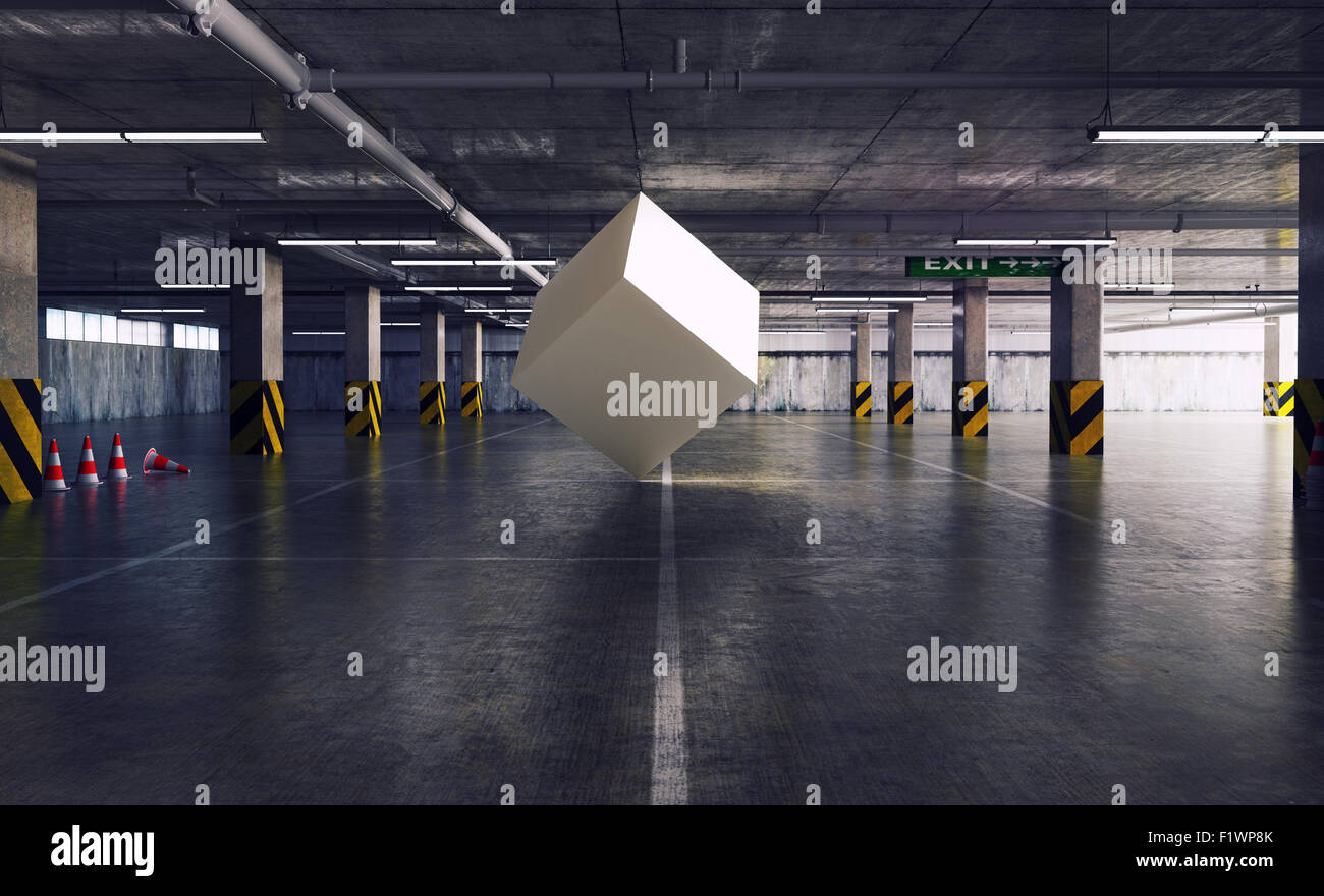 La figure géométrique cube dans le parking. Concept créatif 3d Photo Stock