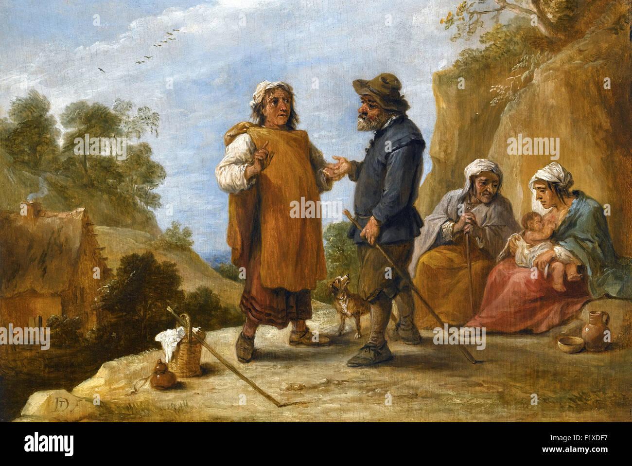 David Teniers le Jeune - tsiganes dans un paysage rocheux Photo Stock