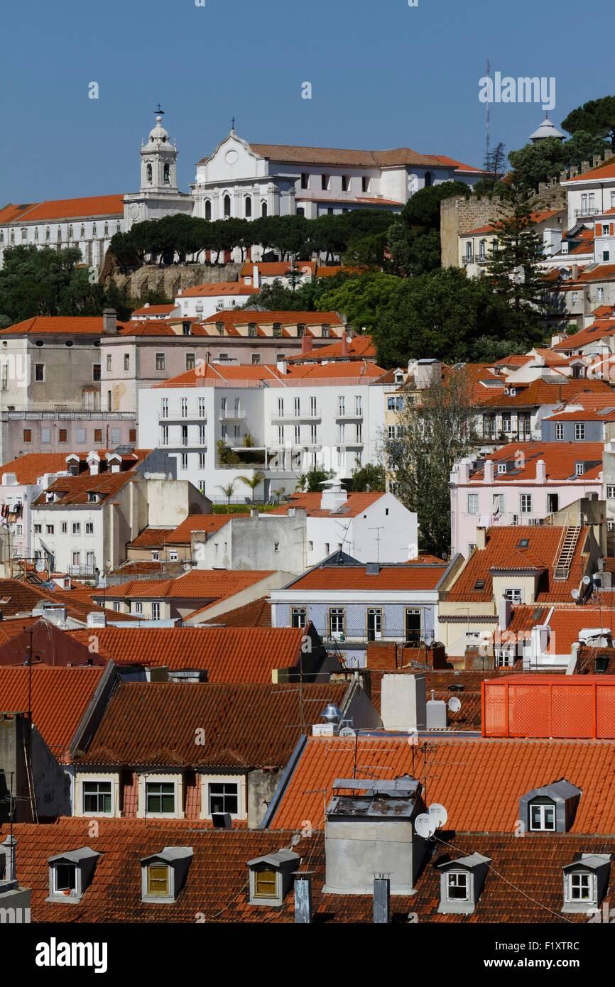 Portugal, Lisbonne, vue depuis l'ascenseur de Santa Justa Photo Stock