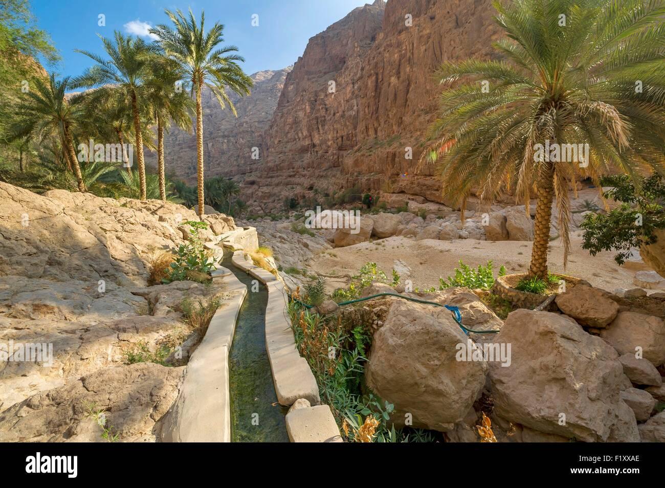 Oman, Wadi Shab, falaj, ou canal d'irrigation Photo Stock
