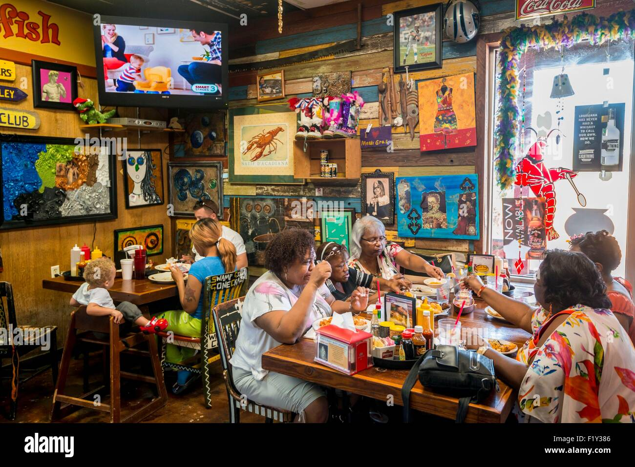 Etats-unis, Louisiane, Breaux Bridge, Crazy Bout restaurant est spécialisé dans la langouste, crabes et Photo Stock