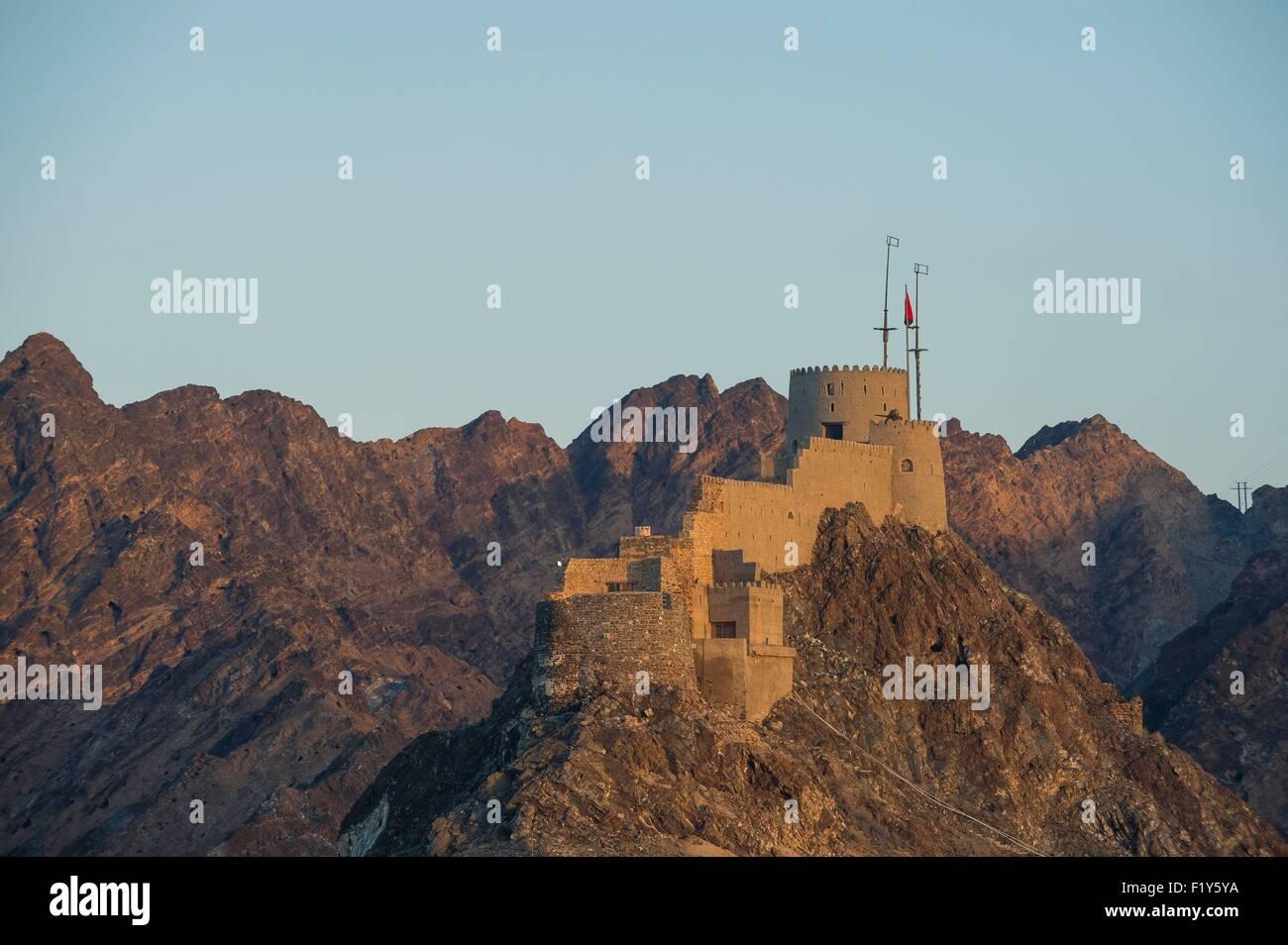 Oman, Muscat, Muttrah, le fort du 17e siècle Photo Stock
