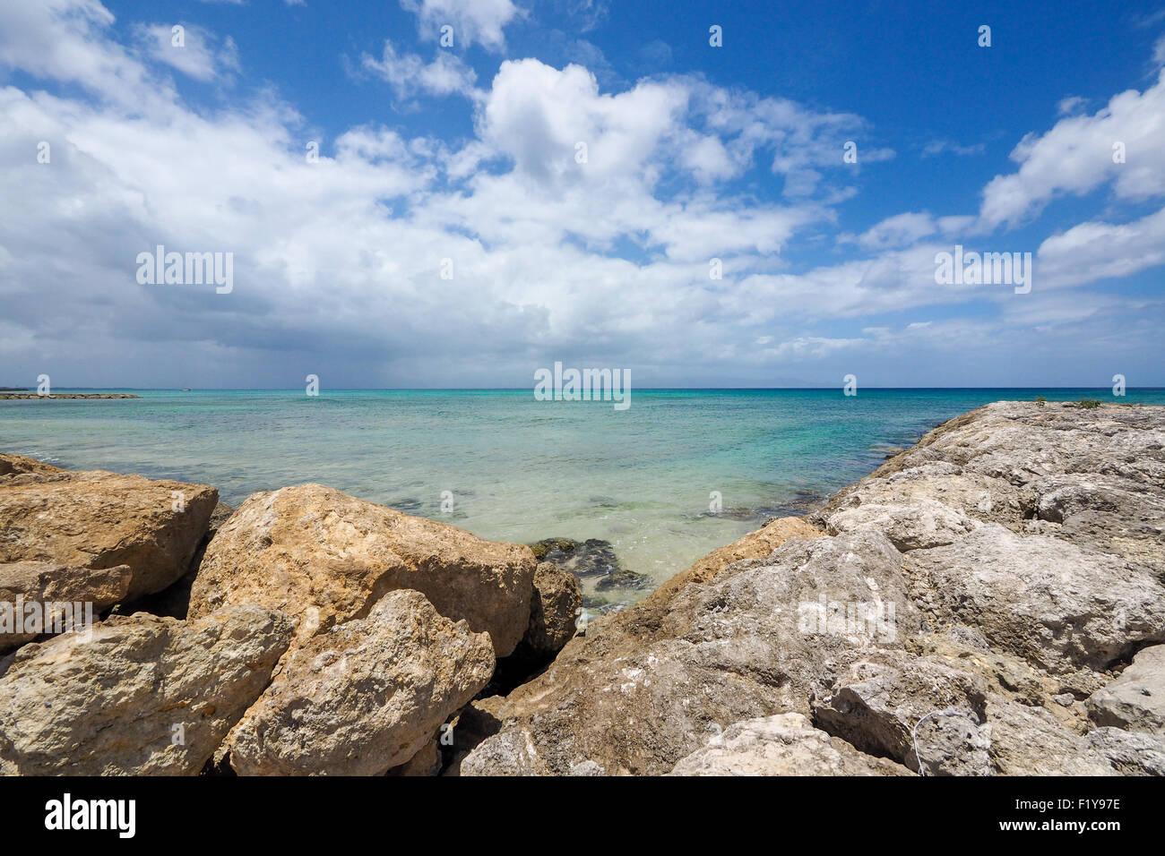 Paysage ensoleillé, sur l'horizon bleu de la mer avec des rochers, Grande Terre, Guadeloupe, West Indies Photo Stock