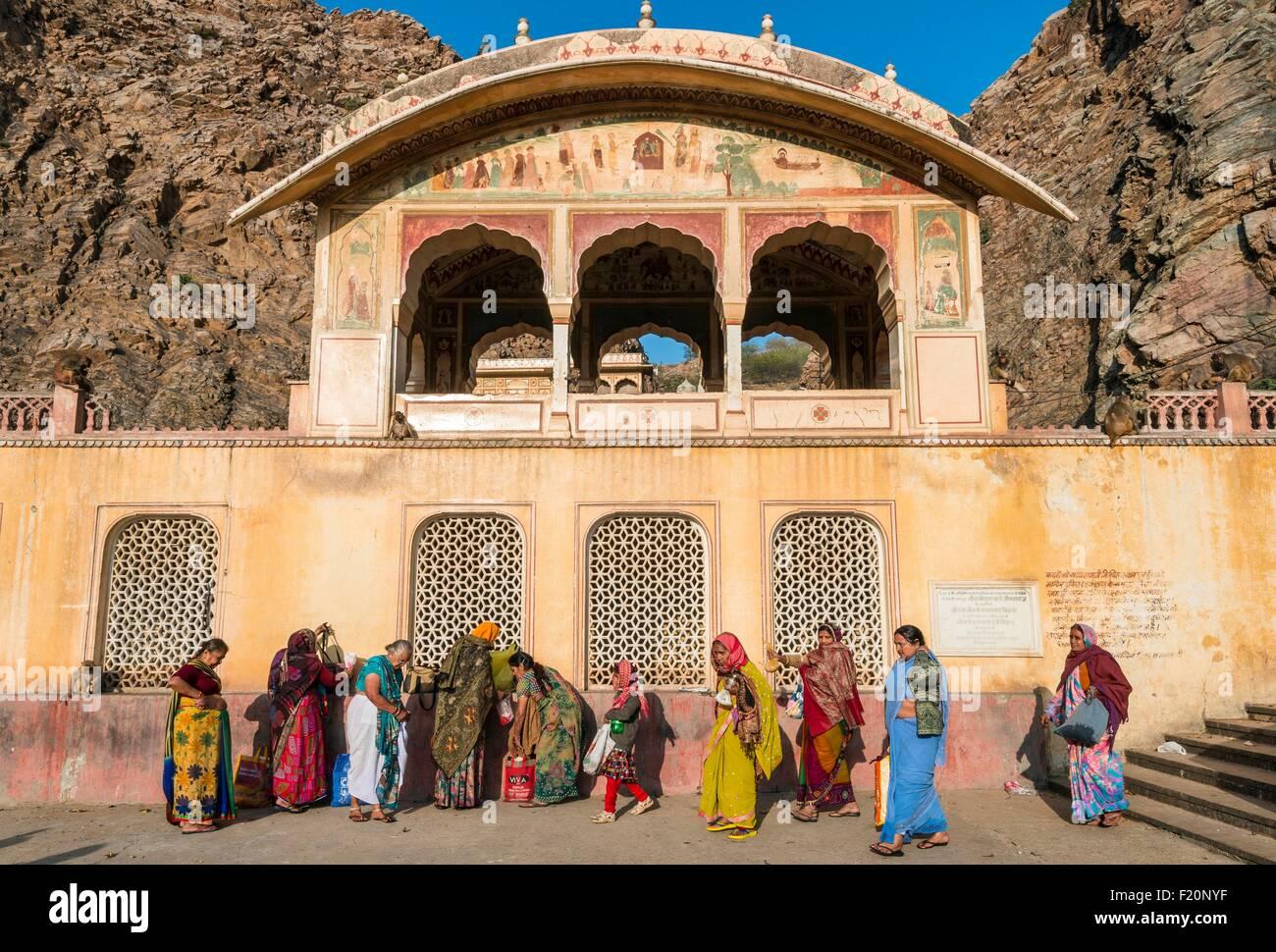 L'Inde, Rajasthan, Jaipur, le Galta ji temple dédié au dieu Hanuman Photo Stock