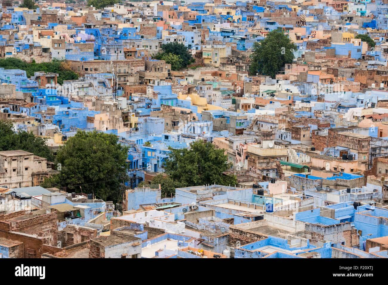 L'Inde, Rajasthan, Jodhpur, la ville bleue Banque D'Images