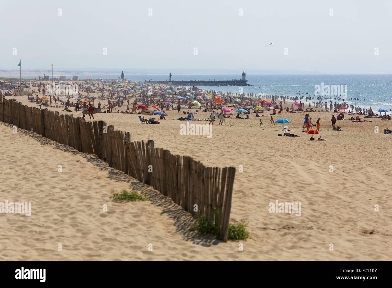France, Landes, Hossegor, plage Photo Stock