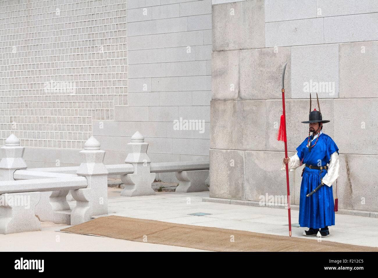 La Corée du Sud, Séoul, Jongno-gu, porte Gwanghwamun Gwanghwa Gyeongbokgung Palace Royal, Garde d Photo Stock