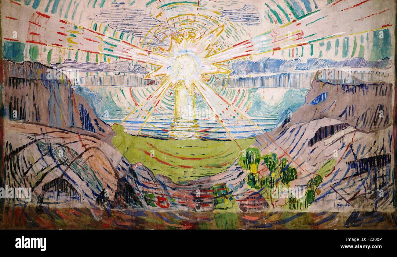 Edvard Munch - Le Soleil Photo Stock