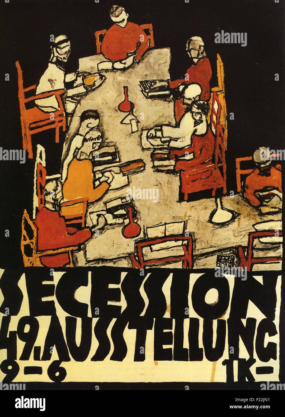 Egon Schiele - Affiche de la Sécession viennoise, 49e Exposition, Die Freunde Photo Stock