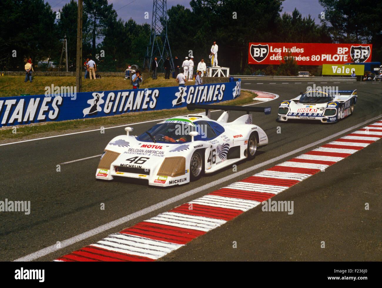 46 Christian Bussi, Jack Griffin et M. L. Speer Rondeau M482 à Mulsanne Corner, Le Mans 16 Juin 1985 Photo Stock