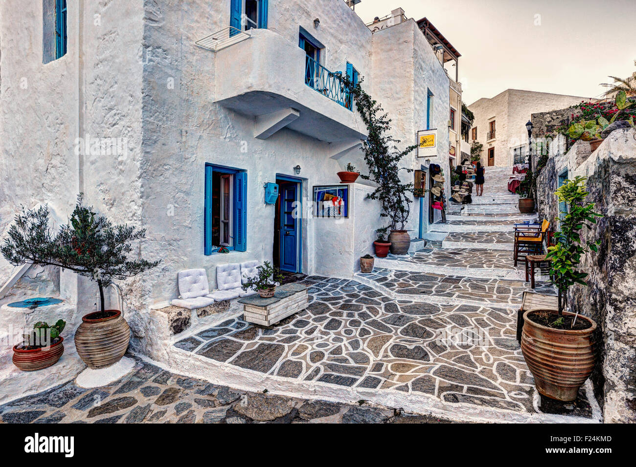 Le village traditionnel de Plaka à Milos, Grèce Photo Stock
