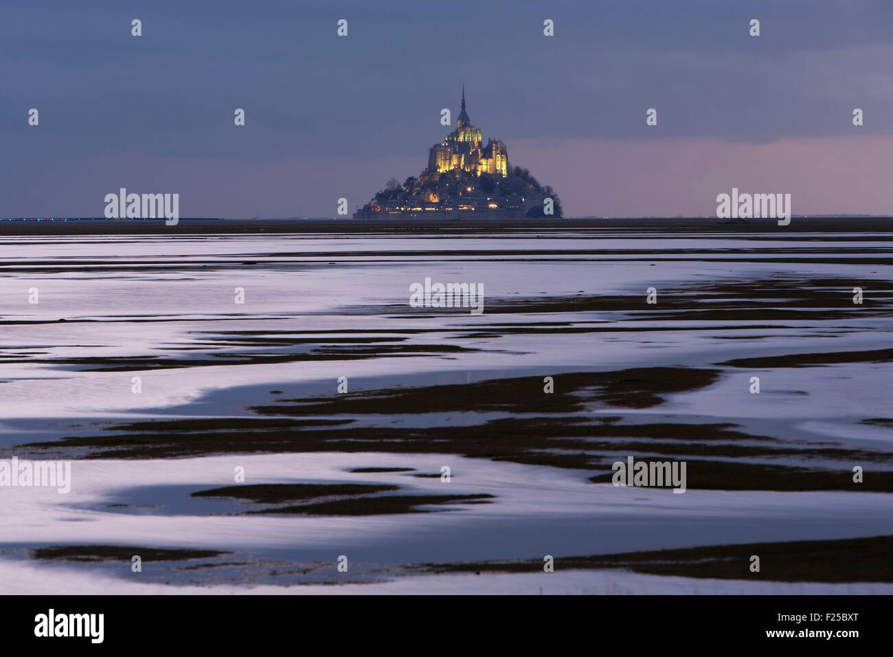 France, Manche, Mont Saint Michel classé au Patrimoine Mondial par l'UNESCO, le Mont Saint Michel du littoral Photo Stock