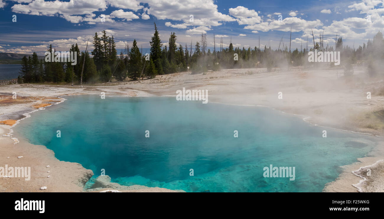 Black Pool à West Thumb Geyser Basin, Parc National de Yellowstone, Wyoming, USA Banque D'Images