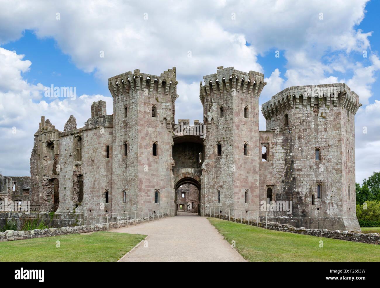 Les ruines de château de Raglan, Chepstow, Monmouthshire, Wales, UK Photo Stock