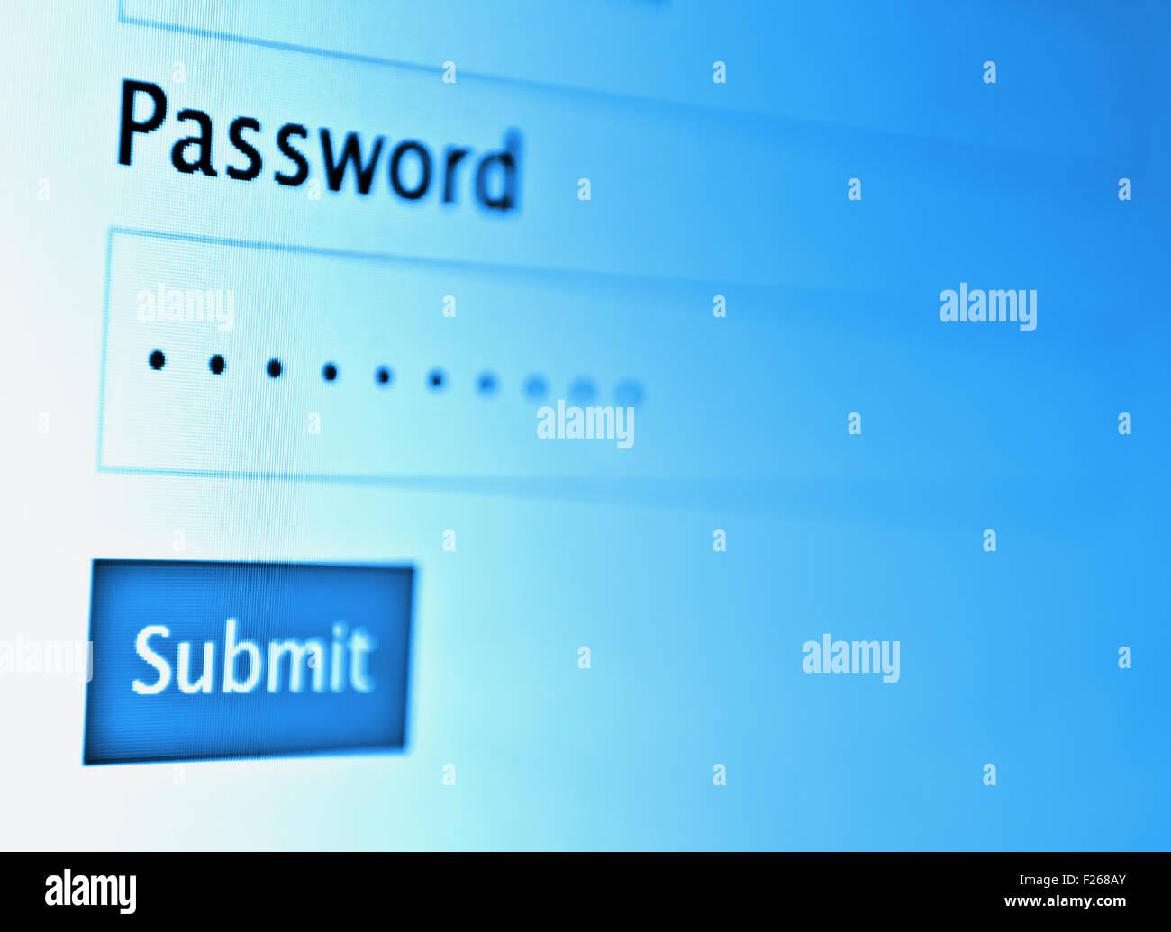 Login et mot de passe sur l'écran du moniteur Photo Stock