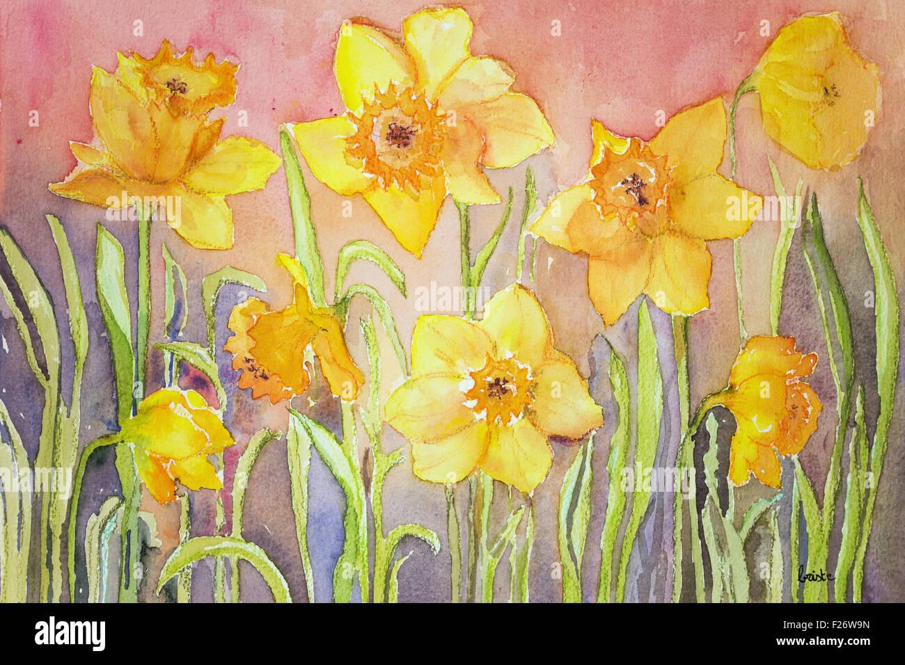 Narcisse jaune dans un environnement d'herbe. la touche technique donne un effet de flou en raison de la modification Photo Stock