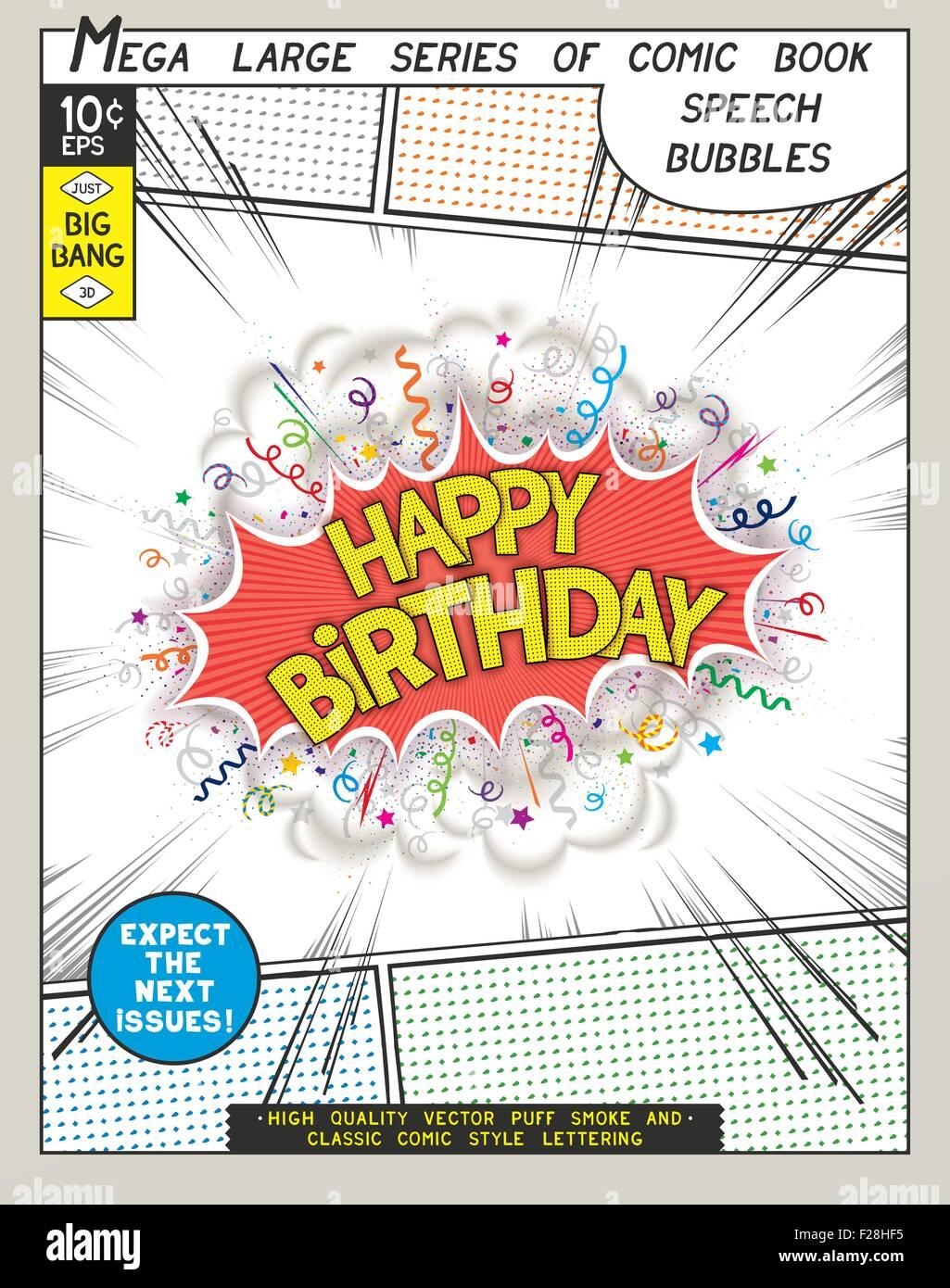 Joyeux Anniversaire Explosion Dans Le Style Comique Avec Lettrage Et Realiste De Bouffees De Fumee 3d De Vecteur Speech Bubble Pop Art Image Vectorielle Stock Alamy