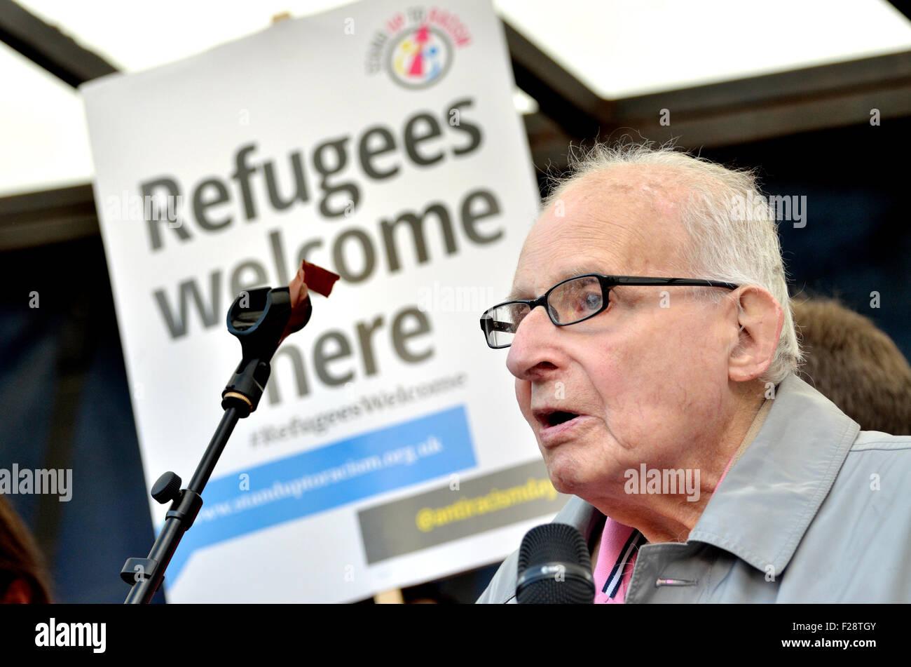 """Walter Wolfgang, Vice-président de la CND et les réfugiés de l'Allemagne nazie, parlant au """"rallye Photo Stock"""