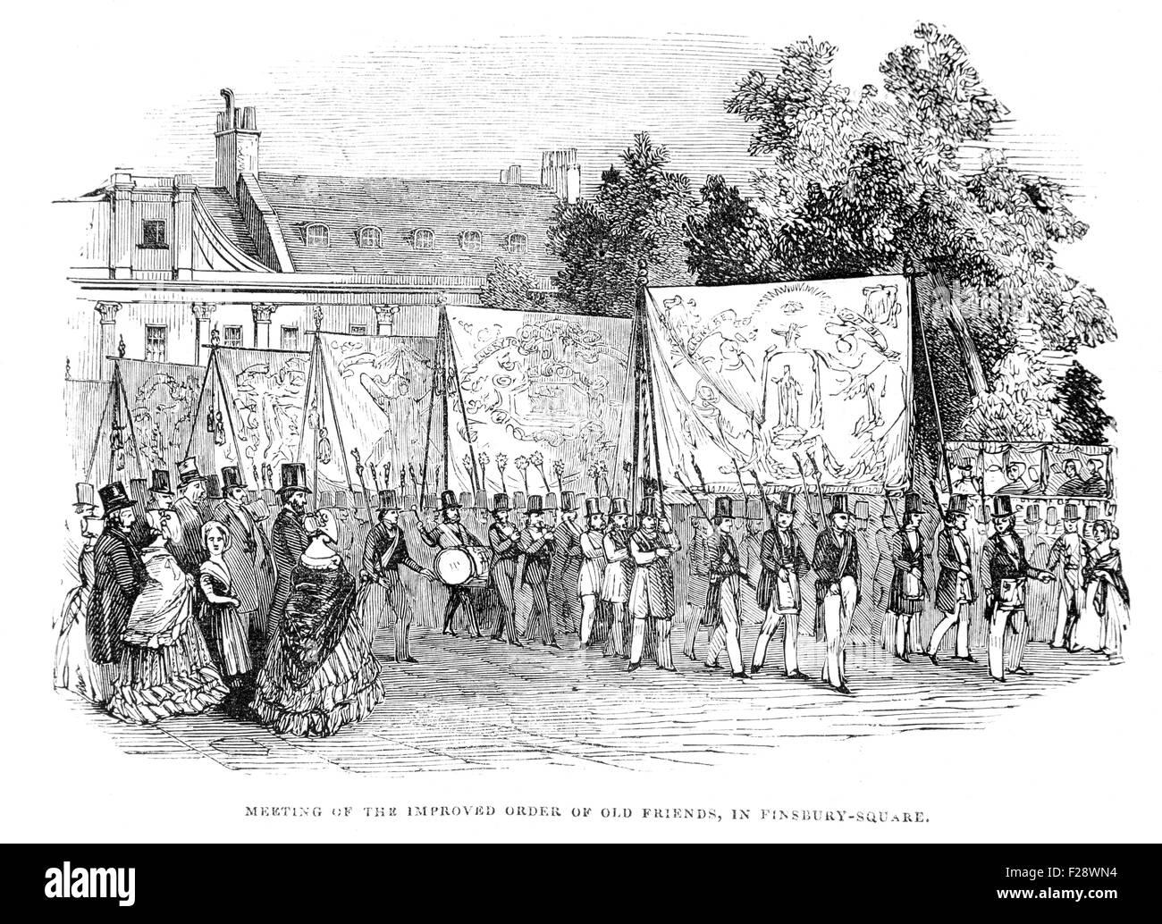 Réunion de l'amélioration de l'ordre de vieux amis à Finsbury Square, l'Illustrated London Photo Stock