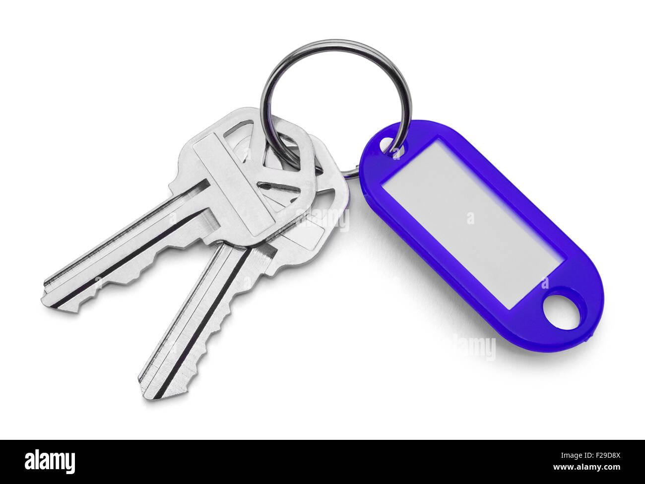 La chaîne Blue Key Tag et clés isolé sur fond blanc. Banque D'Images