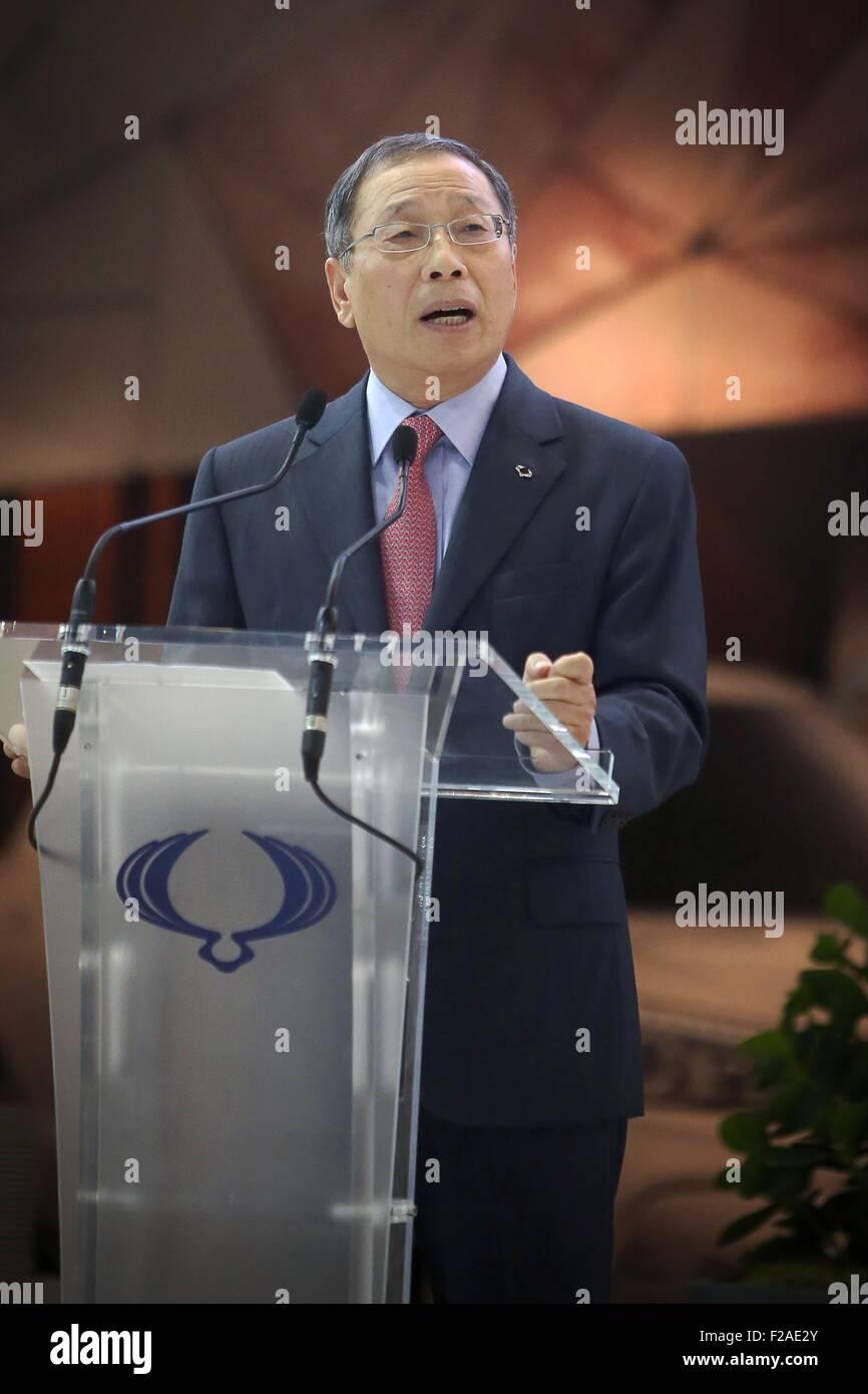 Francfort, Allemagne. 15 Sep, 2015. Le moteur de SsangYong PDG de la société Johng-Sik Choi prend la parole à l'International Banque D'Images