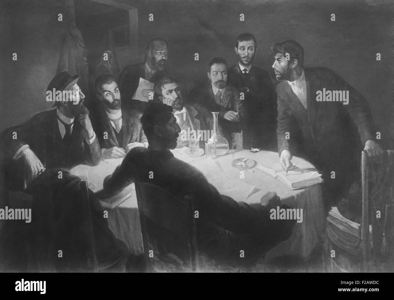 Joseph Staline à la tête d'une réunion avec ses camarades dans le mouvement révolutionnaire. Photo Stock