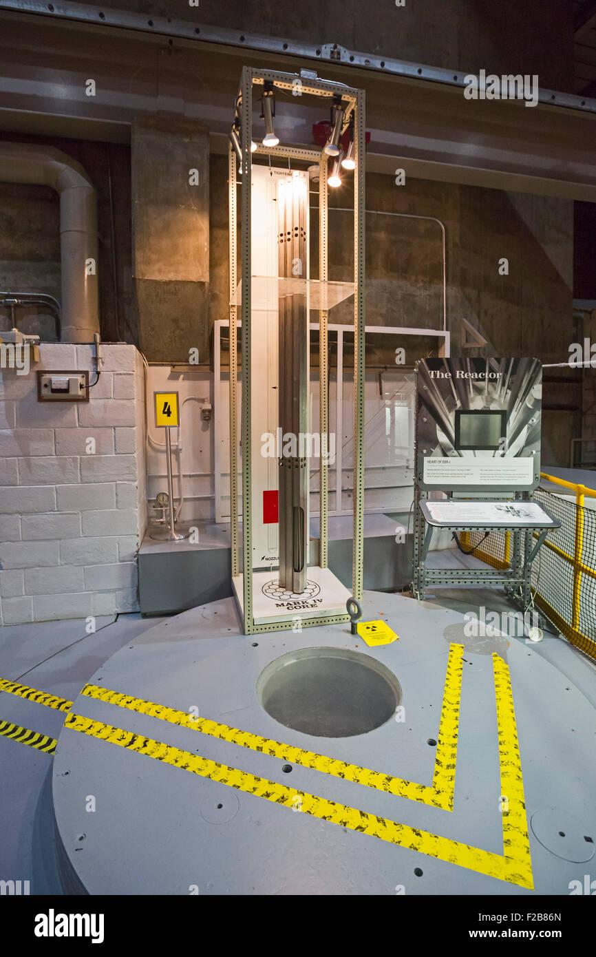 Arco, Idaho - barres de combustible affiché au-dessus du réacteur sur le surgénérateur expérimental Photo Stock