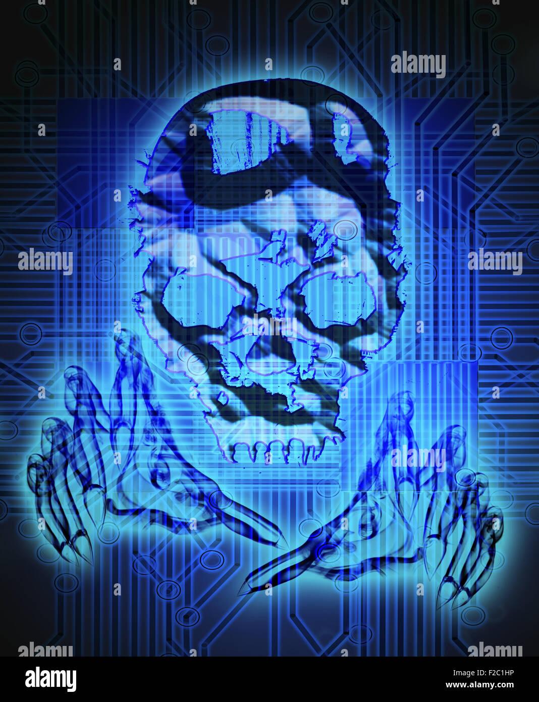 Concept de la criminalité numérique illustration numérique avec tête Photo Stock