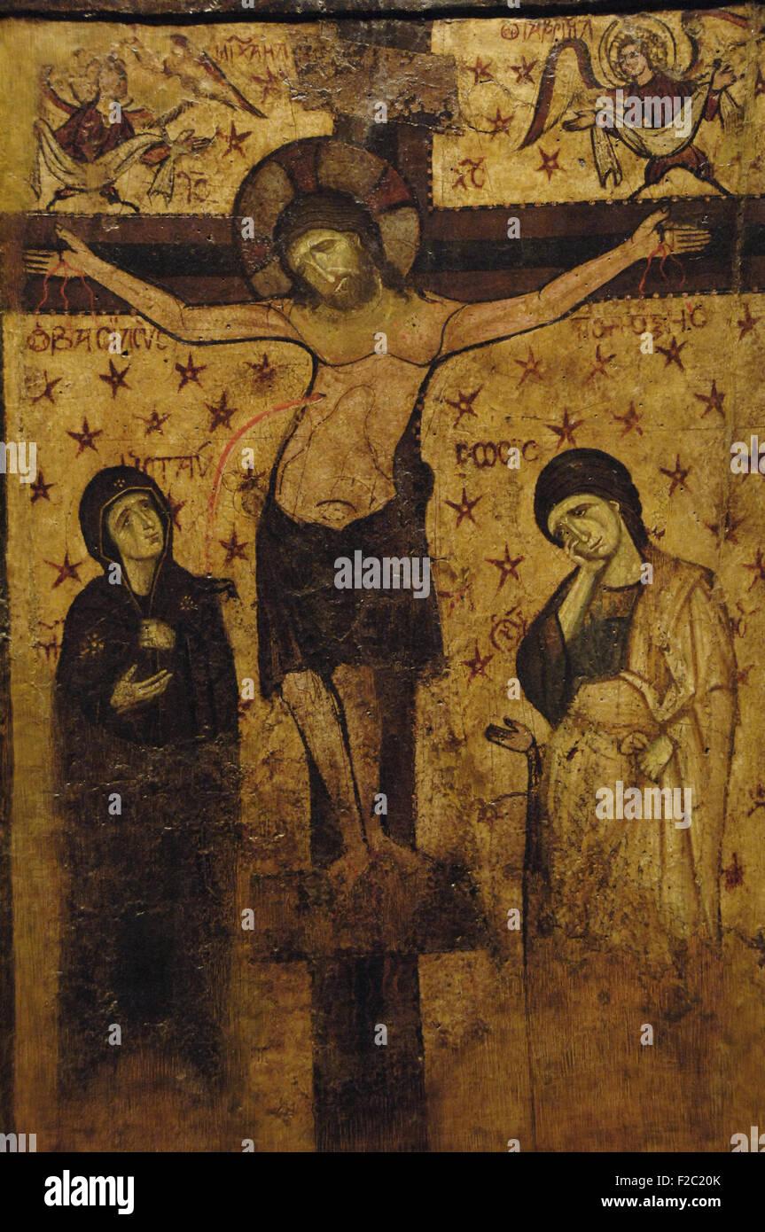 L'art byzantin est de l'Empire romain. Icône. Crucifixion. 9ème-13ème siècle. Musée Photo Stock
