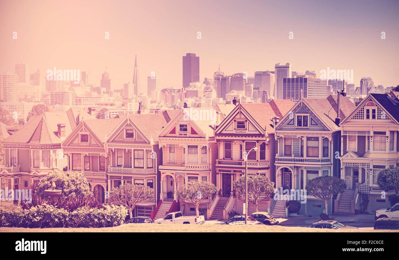 Retro vintage photo filtré de l'horizon de San Francisco, USA, style vieux film. Photo Stock