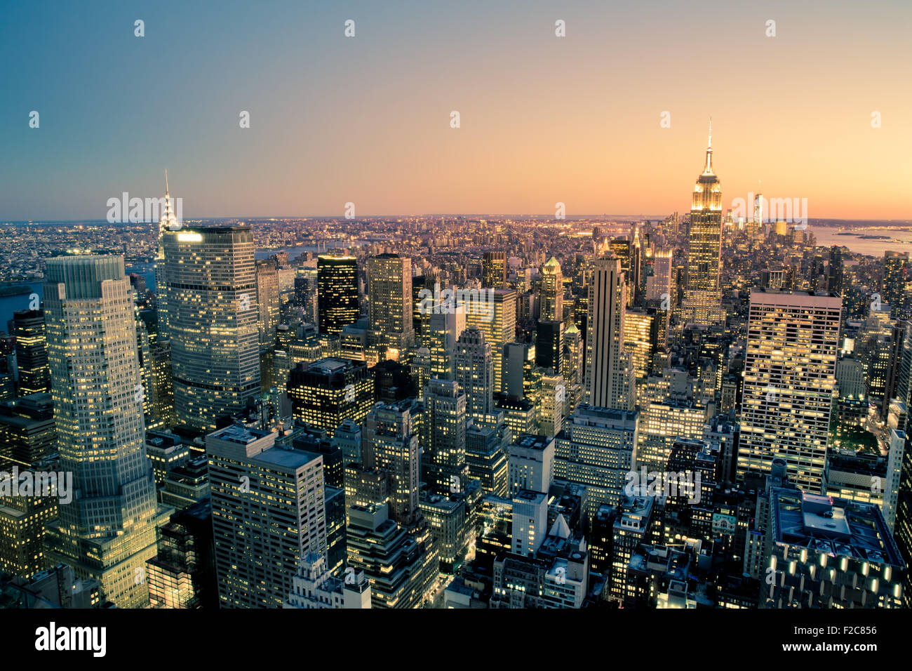 Belle New York Ville Manhattan at sunset Photo Stock