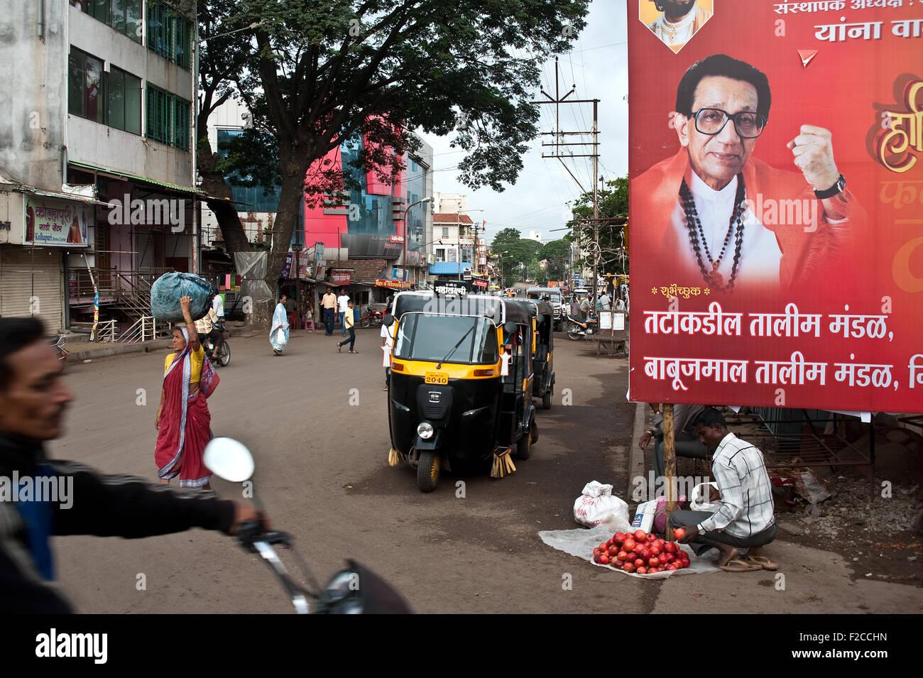 Panneaux publicitaires un parti nationaliste hindou, le Shiv Sena (Inde) Photo Stock