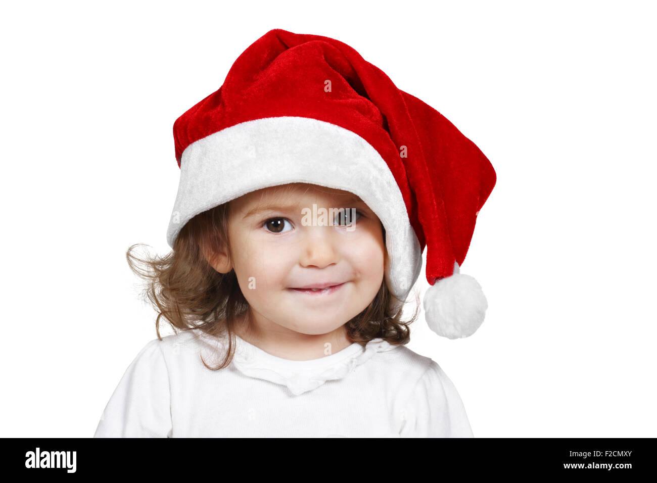 Enfant drôle habillé santa hat, on white Banque D'Images