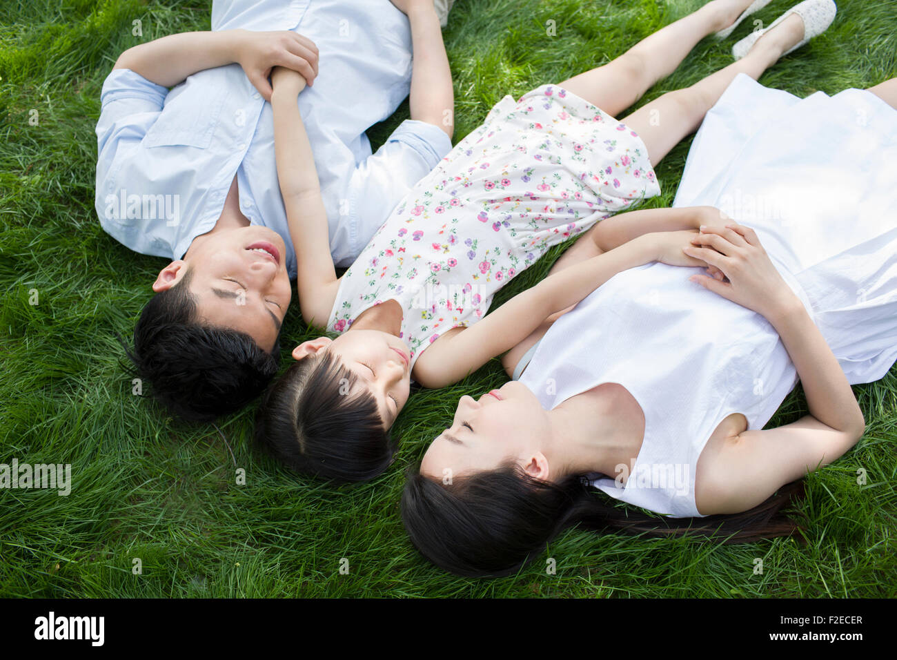 Happy Family lying on grass Banque D'Images