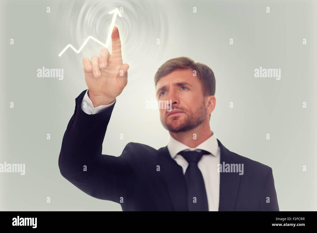 Dessin homme d'une flèche sur l'écran Banque D'Images
